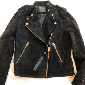 BLANK NYC Suede Leather Moto Jacket Black XS New